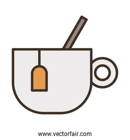 teacup with spoon fill style icon