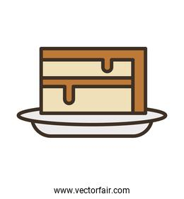 sweet cake portion fill style icon
