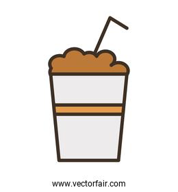coffee plastic container with straw fill style icon