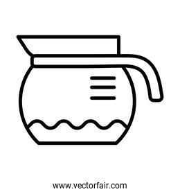 taepot with coffee drink line style icon