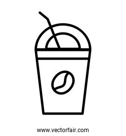 coffee plastic container and straw line style icon
