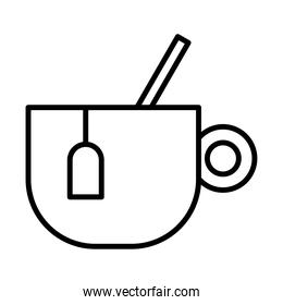 teacup with spoon line style icon