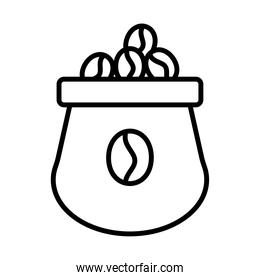 coffee product packing sack line style icon