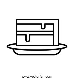 sweet cake portion line style icon