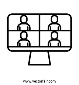 people in teleconference with desktop line style icon