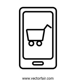 smartphone with shopping cart line style icon