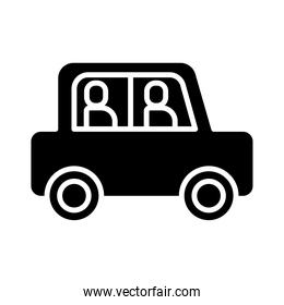 persons in car silhouette style icon