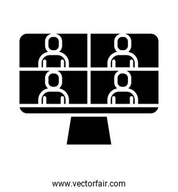 people in teleconference with desktop silhouette style icon