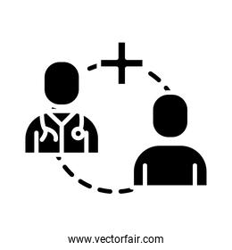 doctor and patient silhouette style icon