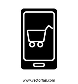 smartphone with shopping cart silhouette style icon