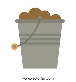 gardening bucket with sand isolated icon