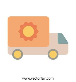truck with sunflower gardening flat style icon