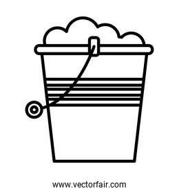 gardening bucket with sand linear style icon