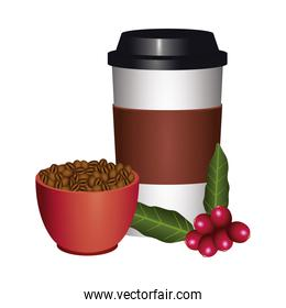 coffee plant grains and leafs with plastic cup