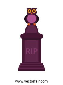 cemetery tomb with rip word and owl