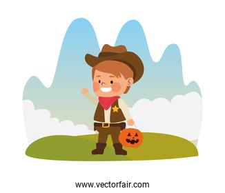 cute little boy dressed as a cowboy character