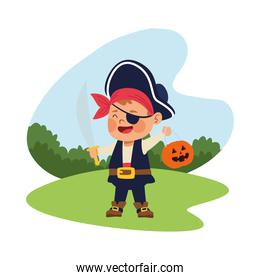 cute little boy dressed as a pirate character