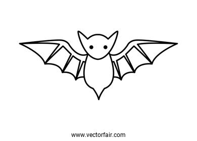 halloween bat flying line style icon