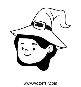 cute little girl dressed as a witch head character line style