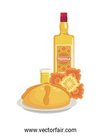tequila bottle and cup with flowers