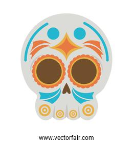 traditional mexican skull head flat style icon
