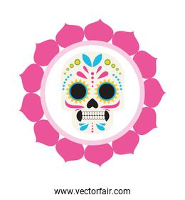 traditional mexican skull head with petals frame