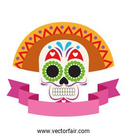 traditional mexican skull head with maricahi hat