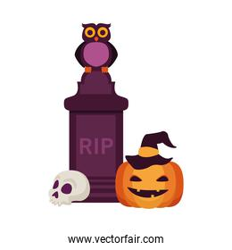 halloween pumpkin with grave and owl