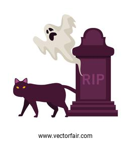 cemetery tomb with rip word and ghost and cat