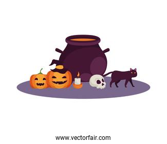 witch cauldron pot with halloween icons