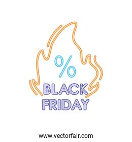 black friday neon design with fire flame with percentage symbol, colorful design