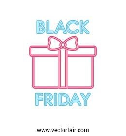 black friday design with gift box icon, colorful design