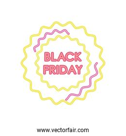 black friday neon design with seals, colorful design