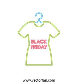 black friday design with tshirt on a hanger, colorful neon design