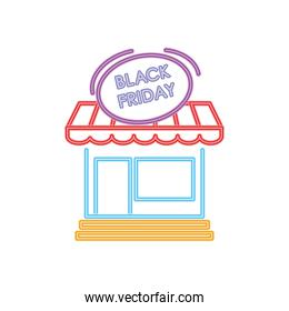black friday neon design with store icon, colorful design