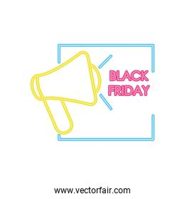 black friday design with megaphone icon, colorful neon design