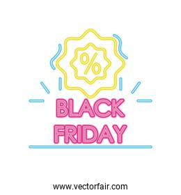 black friday neon design with seal with percentage symbol, colorful design