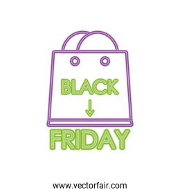 black friday design with shopping bag icon, colorful neon design