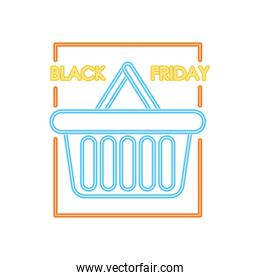 black friday neon design with shopping basket icon, colorful design