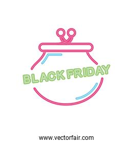 black friday design with money purse icon, colorful neon design