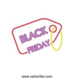 black friday neon design with price tag icon, colorful design