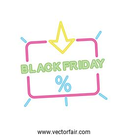 black friday design with arrow and percentage icon, colorful neon design