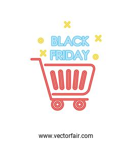 black friday neon design with shopping cart icon, colorful design