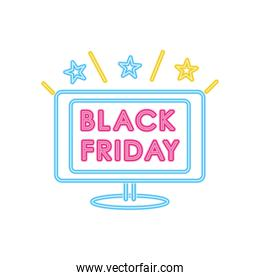 black friday design with computer and stars, colorful neon design
