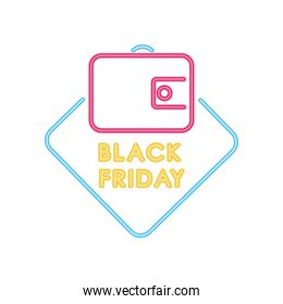 black friday neon design with wallet icon, colorful design