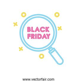 black friday design with magnifying glass icon, colorful neon design