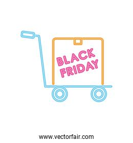 black friday neon design with hand cart with a box, colorful design