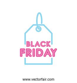 black friday design with price tag icon, colorful neon design