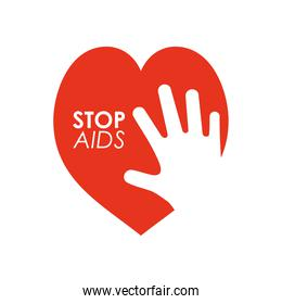 world aids day design with heart and hand silhouette, flat style