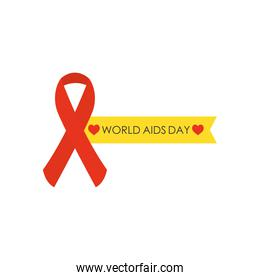 world aids day design with red awareness ribbon and yellow ribbon, flat style